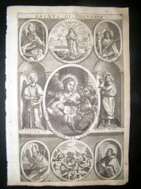 Ribadeneyra 1669 Folio Religious Print. Saints of December